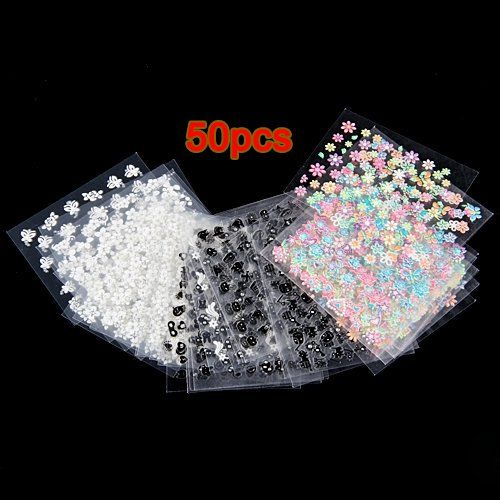 TOOGOO(R) 50 Sheets MIX Finger Toe Nail Art Decoration Flower Sticker Decal DIY -- To view further for this item, visit the image link.
