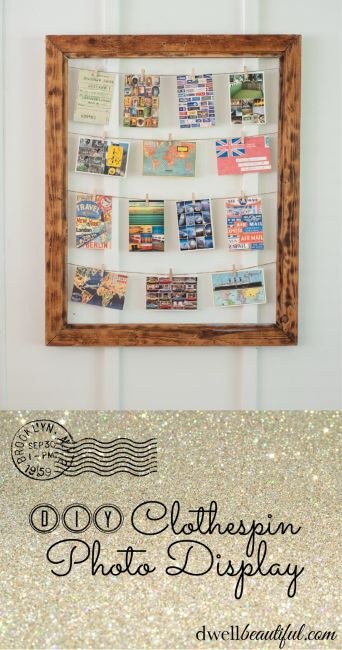 Cute, framed clothespin photo display from Dwell Beautiful #MerryMonday