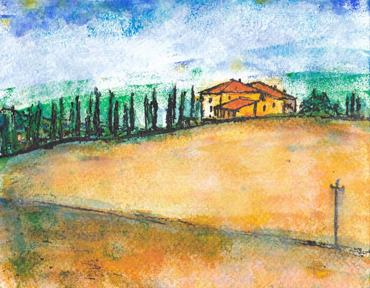 1/100 Tuscan Hillside - acrylic with roller, and ink