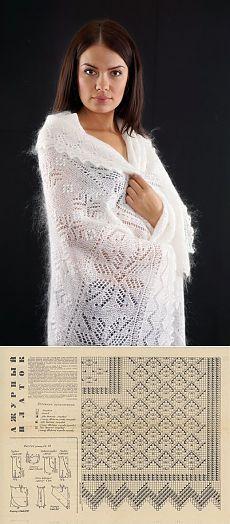 ОРЕНБУРГСКИЙ ПУХОВЫЙ ПЛАТОК  Схем вязания платков очень и очень немного. Связано это с тем, что оренбургские мастерицы просто не используют их. Техника передается из поколения в поколение, от бабушек и мам к внучкам и дочкам.