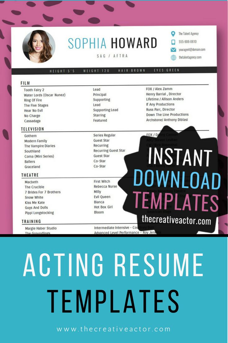 8x10 Acting Resume Templates -- INSTANT DOWNLOAD! #acting #actormarketing #actingresume