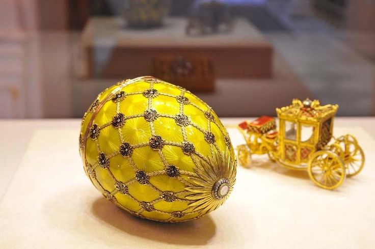 The centrepiece of the new Fabergé museum in St Petersburg is the Imperial Coronation Egg, which was created in 1897 by Peter Carl Fabergé. http://www.thejewelleryeditor.com/jewellery/article/a-new-faberge-museum-opens-in-the-shuvalov-palace-in-st-petersburg/