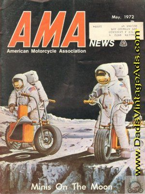 [Photo] Apollo astronaut lunar riding mini motorcycle - vintage 1960s magazine cover