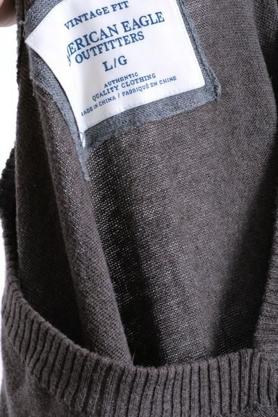 American Eagle Outfitters Mens L Jumper Sweater Brown V Neck Cotton - RetrospectClothes