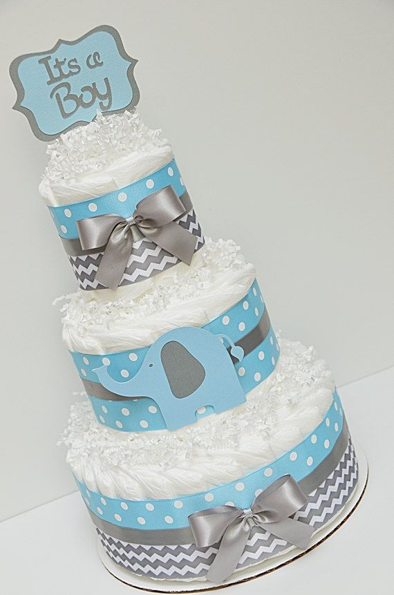blue elephant diaper cake - Google Search