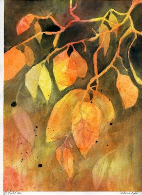 Abstract Autumn Leaves.  This painting is part of an abstract exercise you can do with your students (Grade 4 and up).