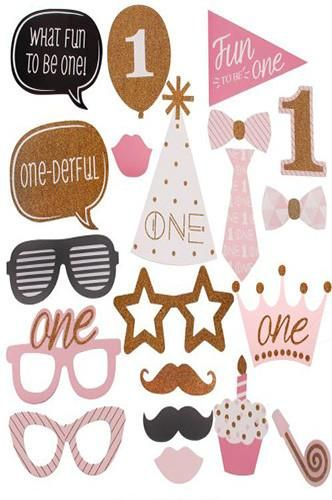 PRA113 Girls First Year Birthday Photo Booth Prop Fun Masks - Backdrop Outlet