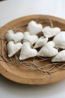 wooley warm white Christmas hearts