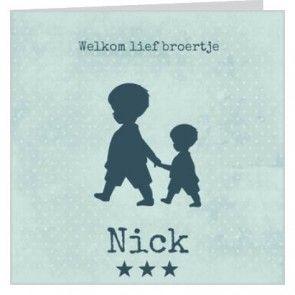 geboortekaartje in groene tinten voor een jongen met grote broer aan de hand. #zwanger #geboortekaartjes #newborn