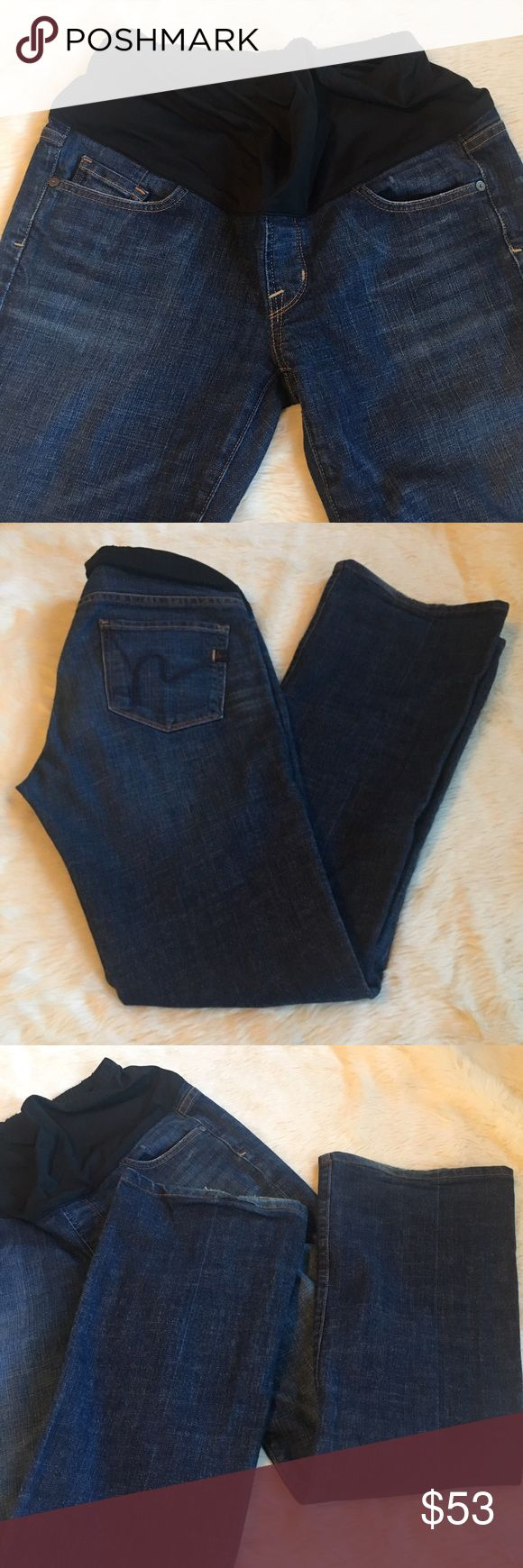 """COH Kelly Bootleg Maternity Belly Panel Jeans One of 2 pairs of Size 29 COH maternity jeans in my closet! This pair is the one that has little to no hem wear and priced accordingly higher. Both can be bundled & offers are welcome. This is the most common and most popular Kelly style.  A classic bootleg jean with the famous indigo embroidered """"h"""" makes almost every bottom look great. The band is made of a stretchy nylon that hits mid-to-over belly. The band can also be worn completely under…"""