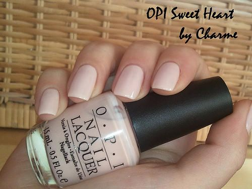 OPI 'Sweetheart' nail polish. So delicate and lovely.  It only takes a couple of coats to get a solid color, and it's not so noticeable when it chips (like brighter colors are).  This is the perfect color for Spring since it goes with everything.