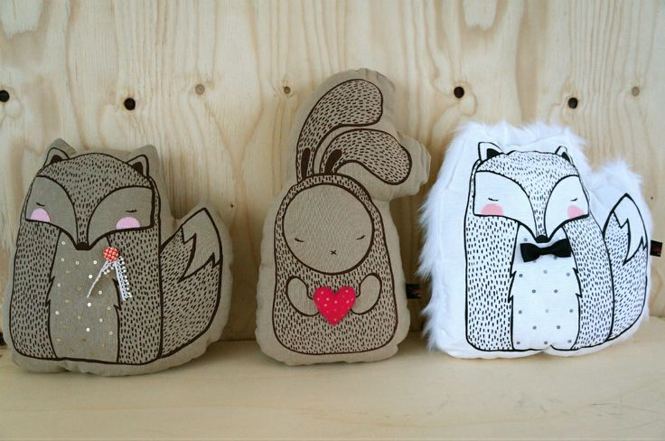 cushions fantastic mr. fox & heart me bunny...