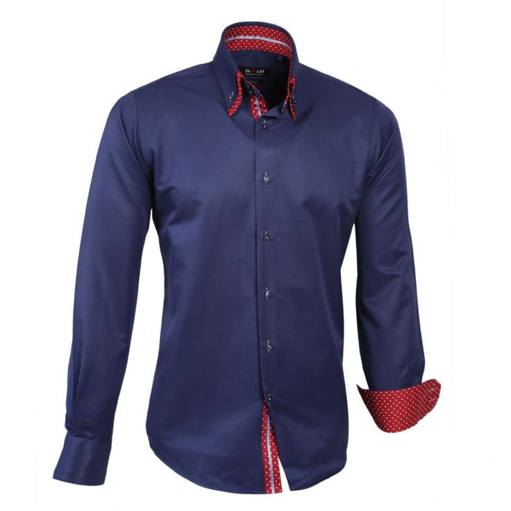 Shop online from our beautifully tailored Farrabi shirts. Button down – Polka Under Collar Slim Fit Formal Double collar dress shirt Navy/Red. Check out other polka shirts!