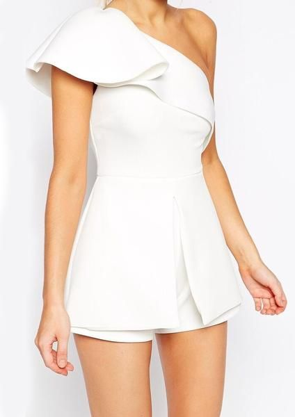 white romper, one shoulder ruffle jumper, slim jumpsuit, white trendy outfit - Crystalline