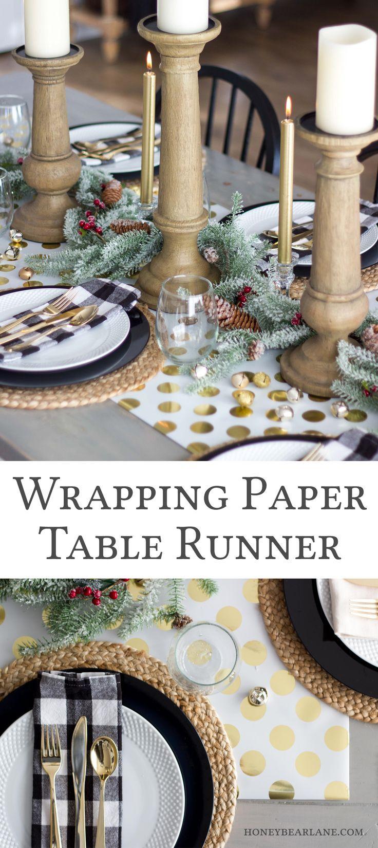Easy Wrapping Paper Table Runner - Honeybear Lane #christmasdiy  #christmasdecor