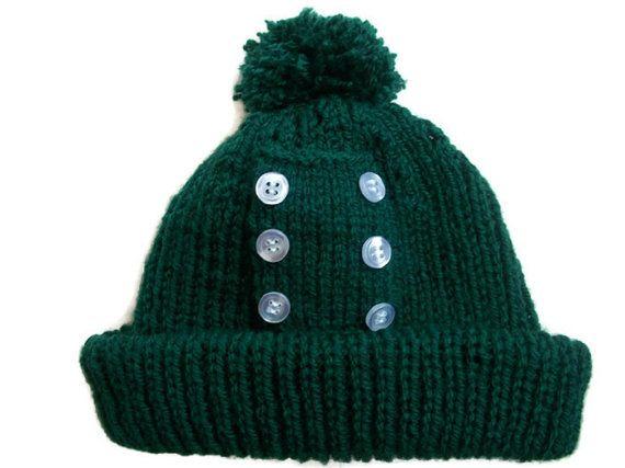 Green Pom Pom Button Hat 60s Beat Ski by thekittensmittensuk