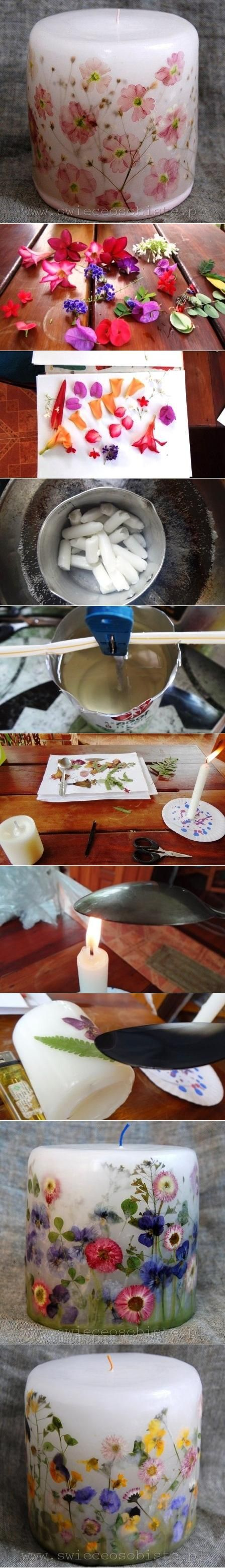 Diy Flower Candle - wonder if you can buy a cheap candle and just press flowers into it? It would be a lot cheaper than purchasing it from a store...