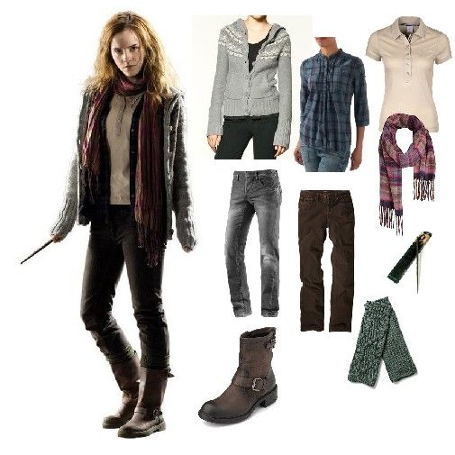 Style  During the Deathly Hallows part 1 Harry, Ron and Hermione are on the run. A lot of the time they are having to camp in the forest in the middle of winter so she has a lot of warm clothes with her.  DIY  Knitted fair isle jumper, Blue checked shirt, Grey jeans, Pale polo top, Warm scarf, Woolley gloves, Brown boots.