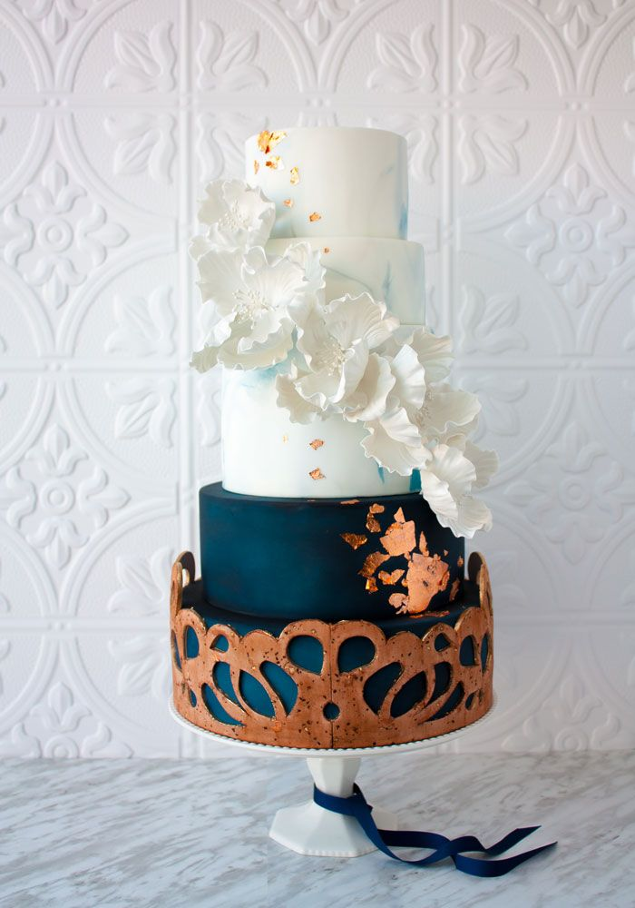 Blue, white and metallic wedding cake - Canada's Prettiest Wedding Cakes For 2016 | Weddingbells