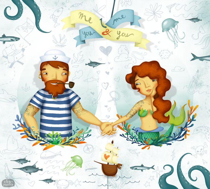 """""""Ink on waves"""" - Sailor & mermaid, Illustration by Elena Prette for Bottle-Up"""