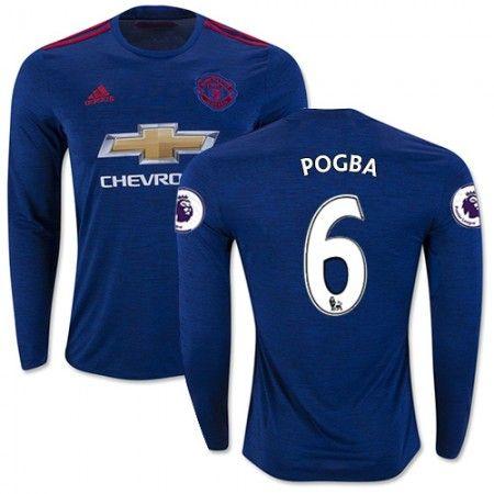Manchester United 16-17 Paul #Pogba 6 Udebanetrøje Lange ærmer,245,14KR,shirtshopservice@gmail.com
