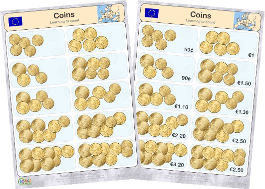 Learn to recognise and count EURO banknotes & coins - counting coins 2