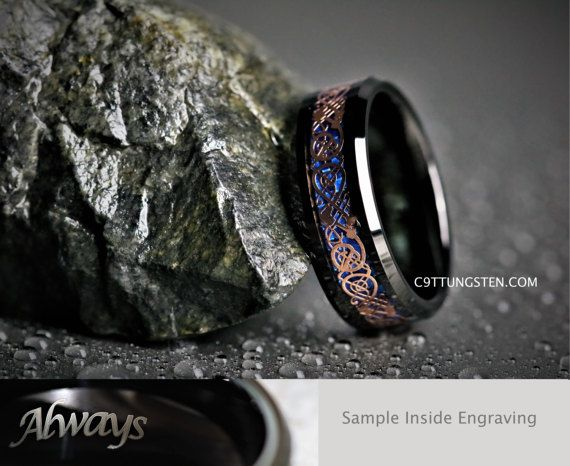 (((((( I CAN SHIP THIS RING WITH ENGRAVING IN ONE DAY..... READ BELOW FOR DETAILS .... ))))))  More $35 Tungsten Rings: https://www.etsy.com/shop/C9TTUNGSTEN?ref=hdr_shop_menu&section_id=21017770  Custom Engraved 8MM Mens Black Tungsten With Blue Carbon Fiber Inlay And Rose Gold Celtic Scroll for Weddings, Engagements and Anniversaries.  Want it shipped today? $5 Charge for same day processing, ( message me ) before placing an order.  8MM in sizes 6-14 includ...