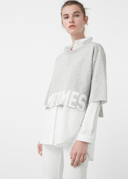Mango Outlet Text crop sweatshirt
