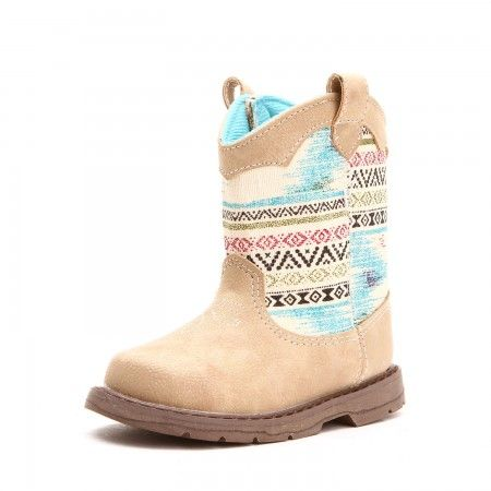 Baby Deer Toddler Girls Aztec Print Flexsole Boots Tan