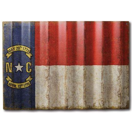 North Carolina Flag - Corrugated Metal