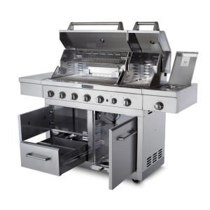 KitchenAid 6 Burner Dual Chamber Gas Grill In Stainless Steel With Grill  Cover 720