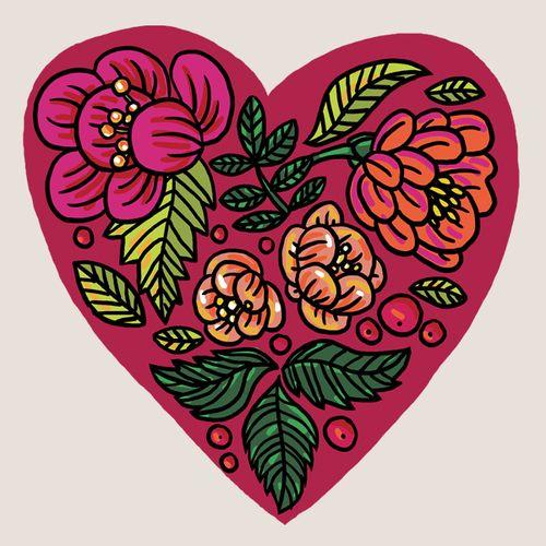 Flowery heart tattoo, set of 3!