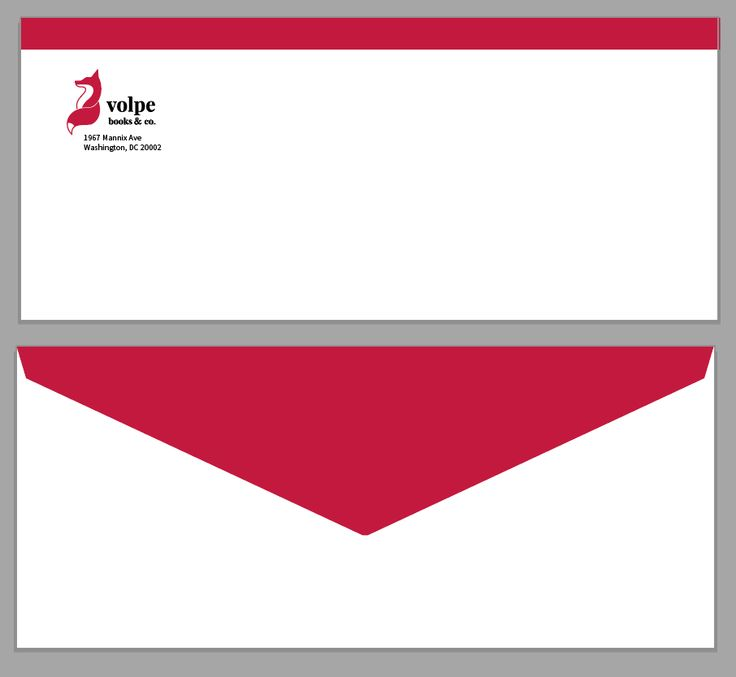 The envelope! As the red bar alludes to the turning of pages on all the branding, it also alludes to the flipping of the envelope.