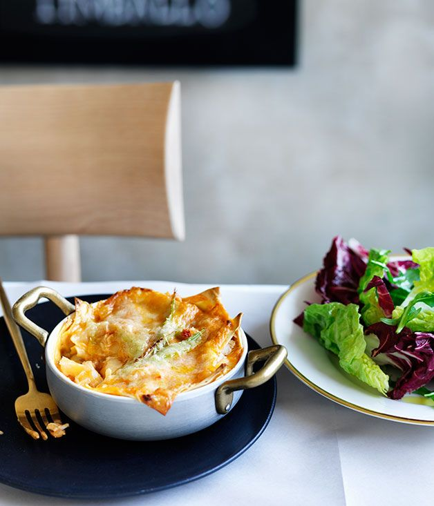 A decadent lobster-based version of the classic Italian lasagne with rich béchamel coating each luscious mouthful.
