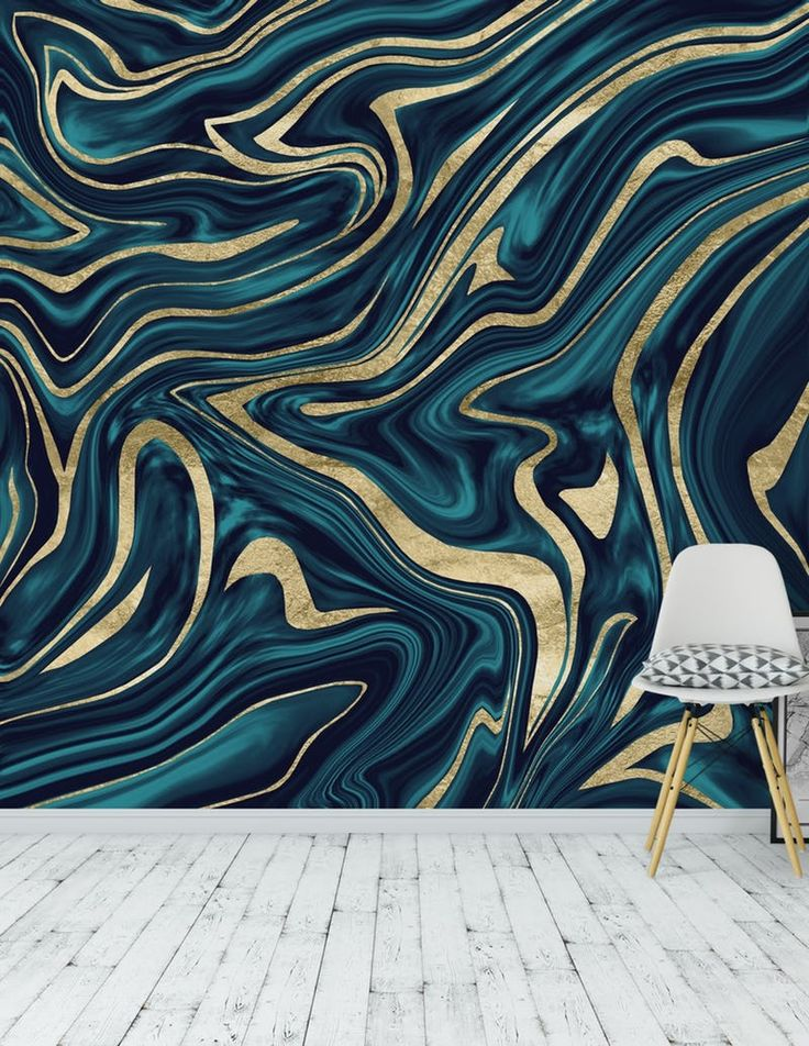 Teal Navy Blue Gold Marble 1 Wall mural in 2020 Blue