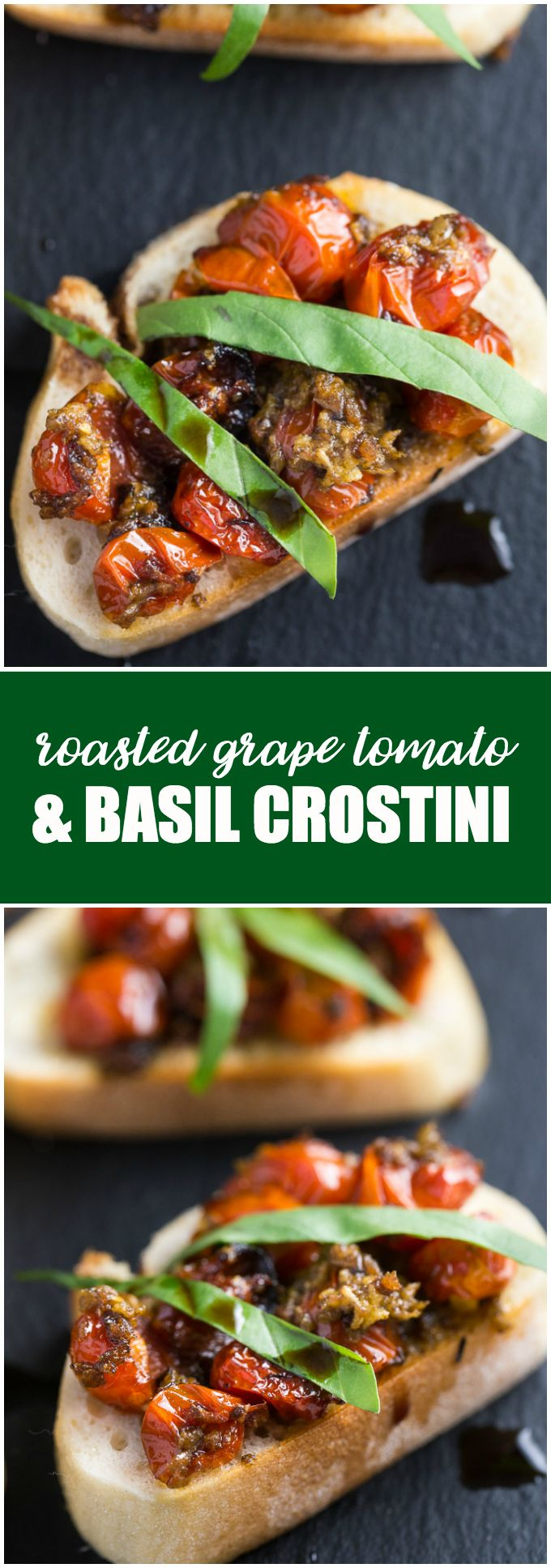 Roasted Grape Tomato and Basil Crostini - A toasted baguette is topped with grape tomatoes roasted in garlic and olive oil and finished off with ribbons of fresh basil and a drizzle of balsamic vinegar.