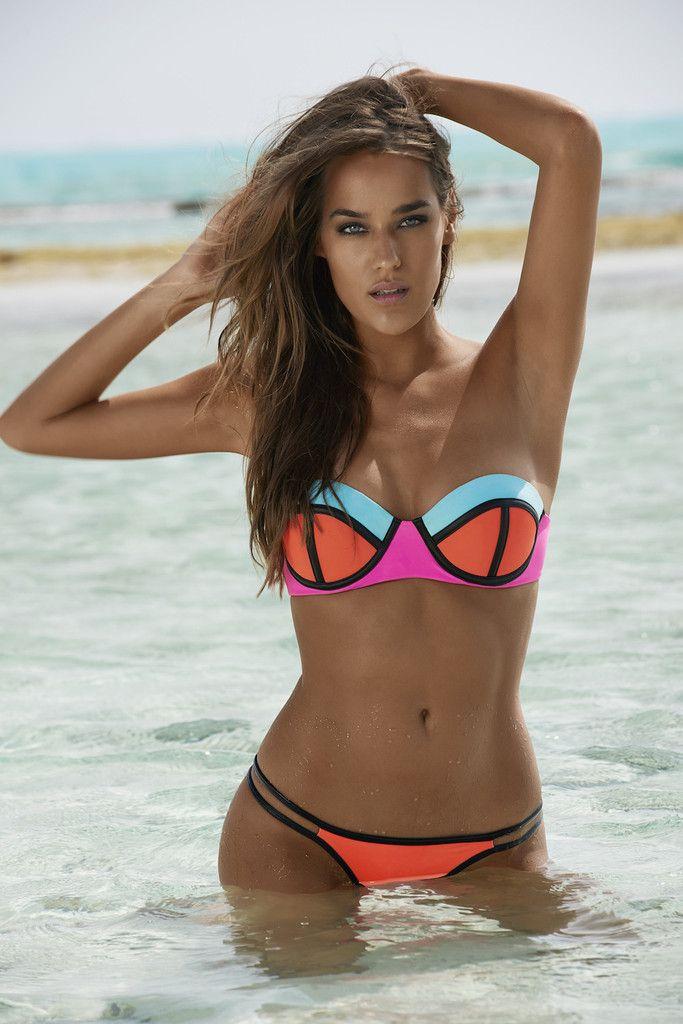 Color Block Swimsuit   Bandeau   Neon   Bikini   Strapless   PilyQ   Swimwear   www.shopdirty30.com