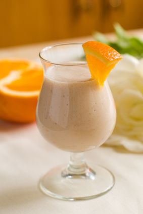 Orange Creme Shakeology  Ingredients: 1 scoop Vanilla Shakeology ½ cup 100% orange juice ½ cup nonfat milk (or unsweetened almond milk) ½ cup ice (add more to taste)  Preparation: 1. Place orange juice, almond milk, Shakeology, and ice in blender; cover. Blend until smooth.