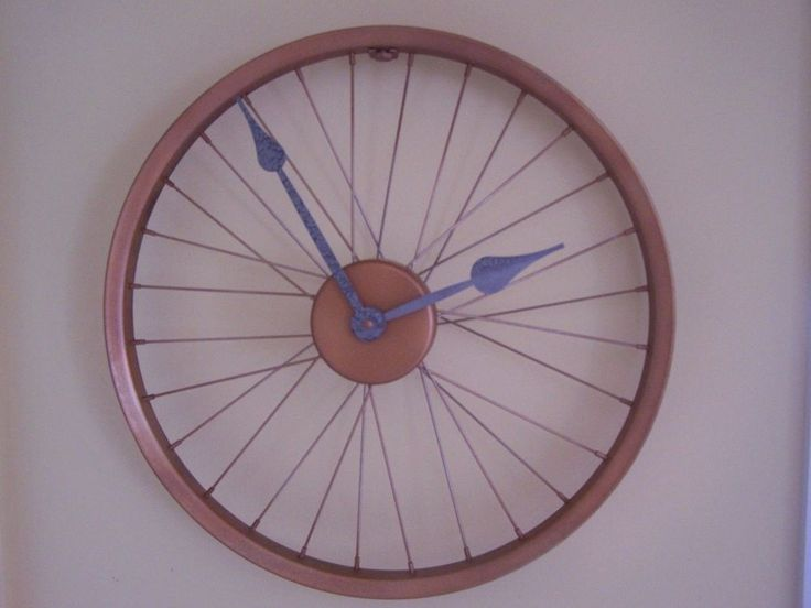 saw blade clock kit. bicycle clock rim repurposed rustic copper finish - silver hammered look hands #unbranded saw blade kit