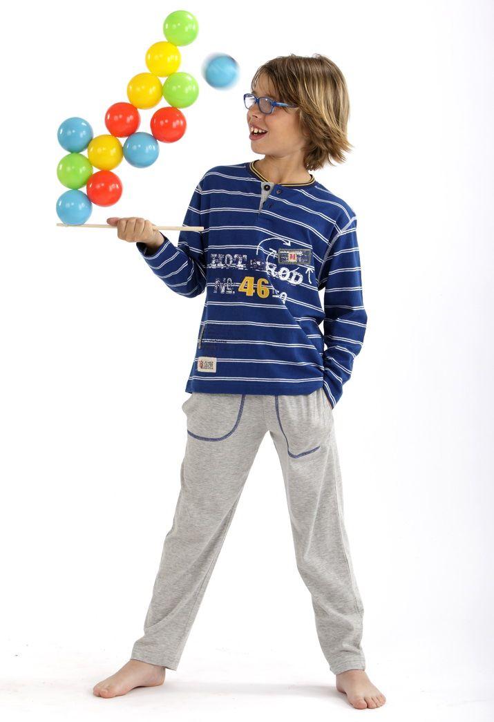 Pijama largo a rayas #Massana #Boy #MassanaKids #MassanaHomewear