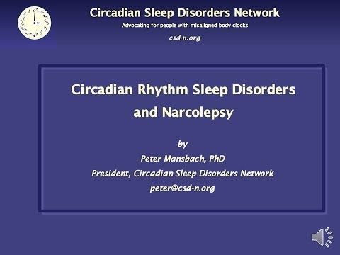 ▶ Circadian Rhythm Sleep Disorders and Narcolepsy - YouTube.  The video version of Peter's recent talk at the Narcolepsy Network conference - the slides with the talk as audio.