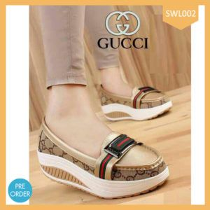 Fashion Flat Shoes Gucci Gold Terlaris