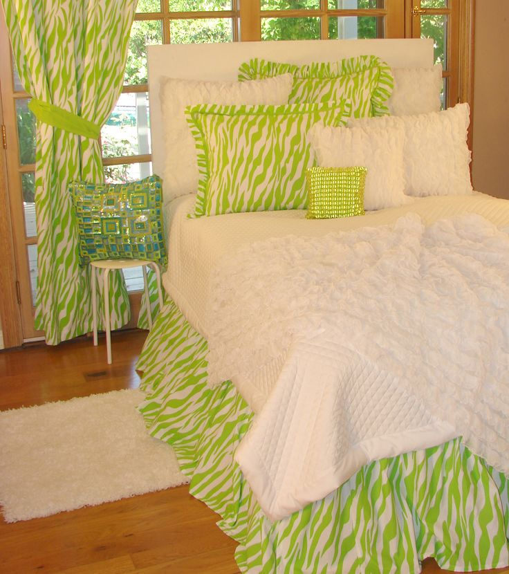 Tween/Teen Bedding | Lime Green Zebra Bedding Collection