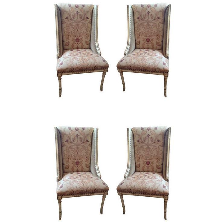 Four Sublimely Upholstered Painted and Carved Wooden Dining Chairs | From a unique collection of antique and modern dining room chairs at https://www.1stdibs.com/furniture/seating/dining-room-chairs/