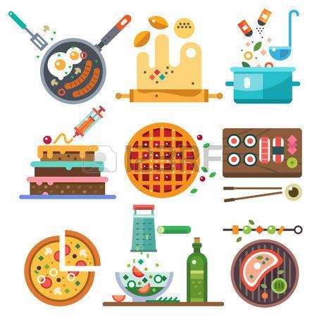 Ilustraciones de los alimentos en el proceso de cocción. Toda la gama de alimentos fritos hierve nacional vegetariana. Dieta alimentación saludable y la comida rápida. Vector ilustración plana