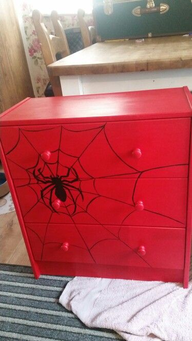 Red spiderman ikea drawers painted