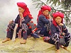 red dao tribe women sitting. vietnam. Red dao tribe women (Sa Pa, Vietnam). asian woman. asian women. Dzao tribe. headdress. headwear. hill tribes. red zao tribe. Sapa. three. tribe girls. Việt Nam. Yao tribe.
