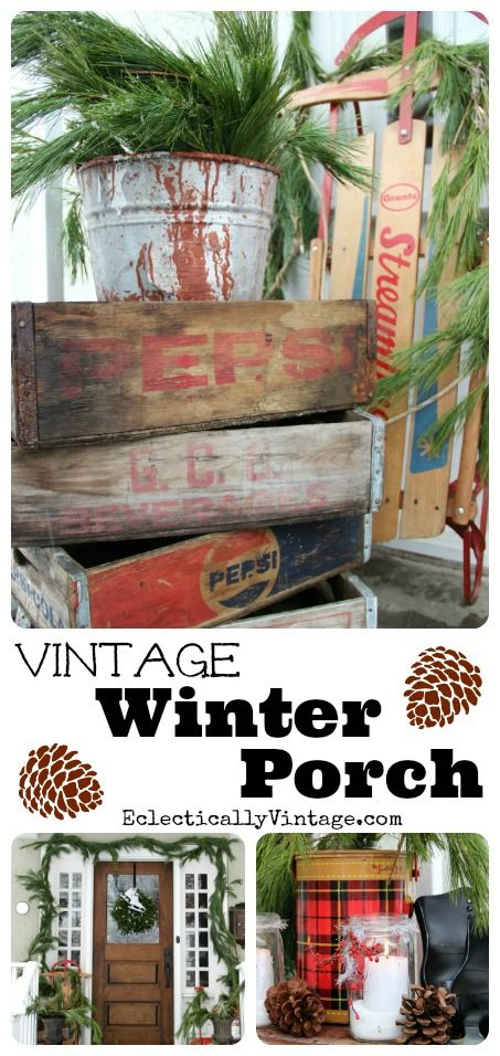 Winter Porch Decorating Ideas - love these stacked soda crates and all the other great ideas on this site! eclecticallyvintage.com