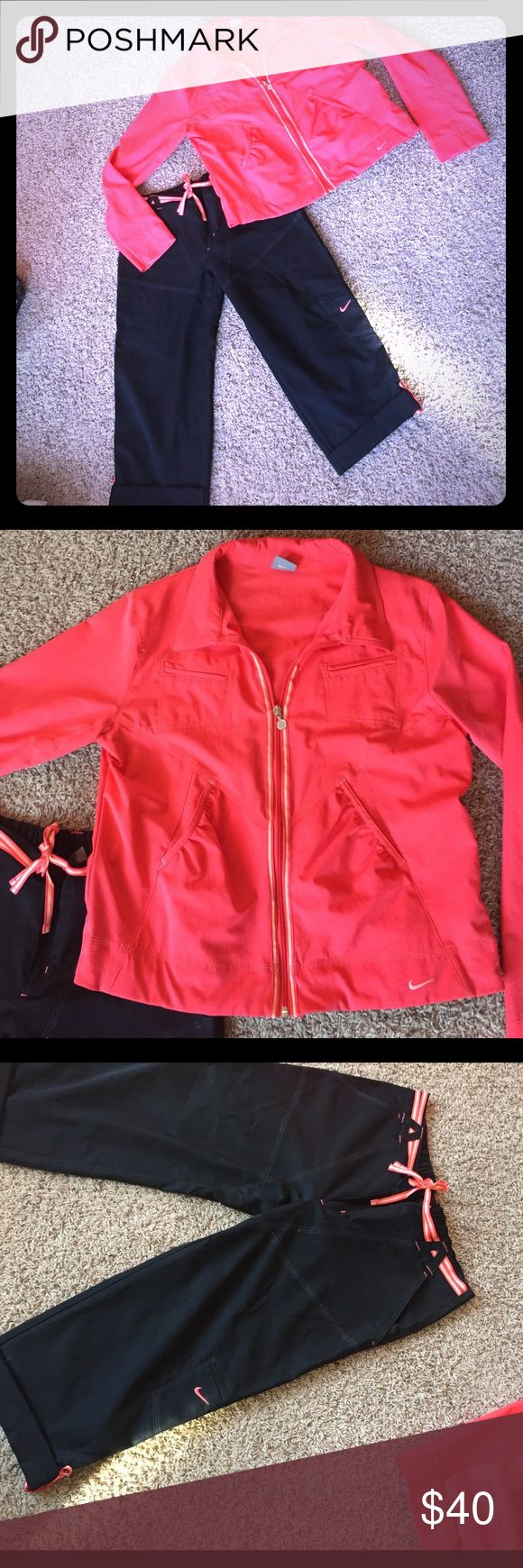 Super cute Nike Capri/Jacket set new without tags This is a super cute Nike Capri set. Beautiful coral jacket with matching details on the black Nike capris. Capris are Medium. Jacket is XL. ... I normally wear size 10 dress and this fits great. The jacket is not tight :) thanks for shopping ❗️ Nike Other