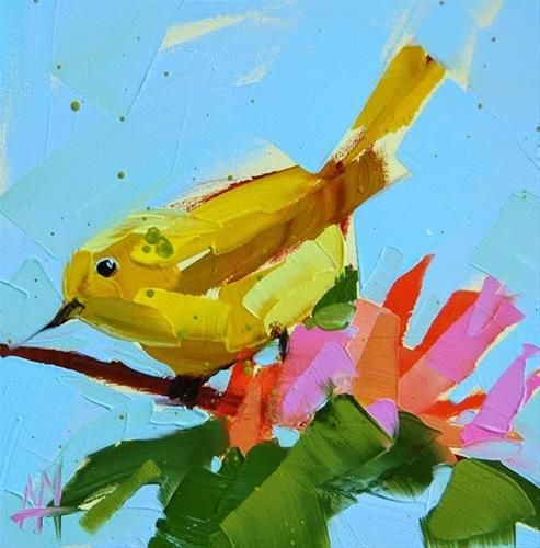 """Daily+Paintworks+-+""""Yellow+Warbler+no.+60+Painting""""+-+Original+Fine+Art+for+Sale+-+©+Angela+Moulton"""